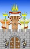 De ridders bewaken poorten van kasteel in vector Stock Foto's