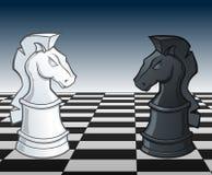 De Ridders Faceoff van het schaak - vectorillustratie Royalty-vrije Stock Foto's