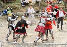 De ridders vechten in massabrawl Royalty-vrije Stock Afbeeldingen