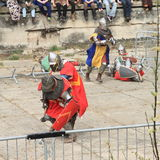 De ridders vechten in massabrawl Stock Foto