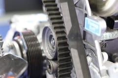 De riem van de dieselmotortiming; sluit omhoog stock afbeelding