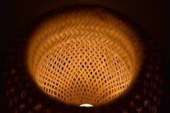 De rieten lamp van de patroonlampekap stock afbeelding