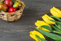 De rieten mand van Pasen met gekleurde eieren en gele tulpen op grijze houten raad Stock Fotografie