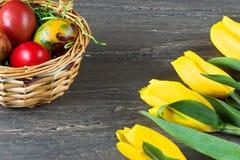 De rieten mand van Pasen met gekleurde eieren en gele tulpen op grijze houten raad Stock Foto's
