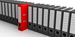 De rij van bureauomslagen op witte achtergrond 3D Illustratie Stock Afbeelding