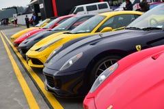 De rij van Ferrari-sportwagen op vertoning bij Ferrari-de Uitdagingsreeks Van Azië en de Stille Oceaan rent op 15 April, 2018 in  Royalty-vrije Stock Foto