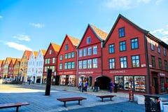 De rij van gekleurde huizen in Bergen, Noorwegen Royalty-vrije Stock Afbeelding