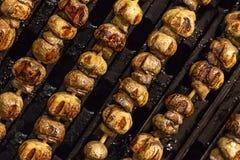 De rij van vleespennen braadde geroosterde paddestoel ministrepen gebraden op een het close-up van de ijzer geribbeld oppervlakte royalty-vrije stock afbeeldingen