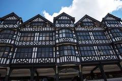De Rijen zijn Tudor Black en Witte Gebouwen in Chester de stad van de provincie van Cheshire in Engeland royalty-vrije stock afbeelding