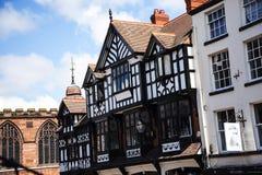 De Rijen zijn Tudor Black en Witte Gebouwen in Chester de stad van de provincie van Cheshire in Engeland royalty-vrije stock foto