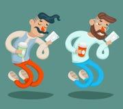 De rijke van de Telefooncoffie van Beeldverhaalhipster Geek Mobiele Zakenman Character Icon op Modieuze Achtergrondontwerpvector Stock Afbeeldingen