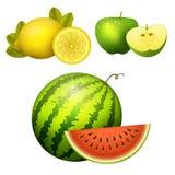 De rijpe gestreepte van de de illustratieplak van de watermeloen realistische sappige appel vector groene geïsoleerde rijpe meloe Stock Afbeeldingen