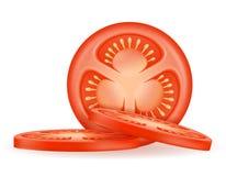 De rijpe rode gesneden vectorillustratie van de tomatenvoorraad vector illustratie