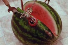 de rijpe, sappige, watermeloenbesnoeiing en het plakte keukengerei stock foto