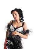 De rijpe vrouw met alcoholdrank bekijkt u Royalty-vrije Stock Foto's
