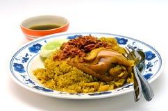 De rijst Beroemd Aziatisch Thais voedsel van de kippenkerrie Stock Foto