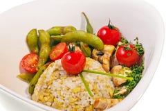 De rijst en de vissen van het gebraden gerecht met groente Royalty-vrije Stock Afbeeldingen