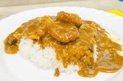 De rijst van de varkensvleeskerrie Stock Afbeeldingen