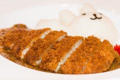 De rijst van de varkensvleeskerrie, Japans voedsel Stock Afbeeldingen