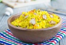 De rijst van Shaffron met paddestoelen Stock Foto's