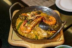 De rijst van de zeevruchtenpaella Stock Afbeeldingen