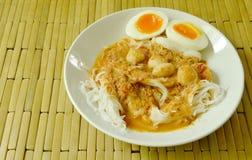 De rijstnoedels met het bovenste laagje van de vissenkerrie kookten romige eierdooier Stock Foto's