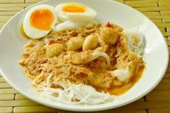 De rijstnoedels met het bovenste laagje van de vissenkerrie kookten romige eierdooier royalty-vrije stock foto's