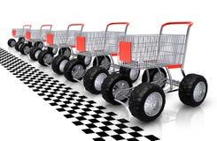 De rijwachten van boodschappenwagentjes Stock Fotografie