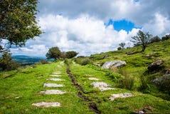 De Rijweg van de steen over Bodmin legt in het UK vast Stock Foto's