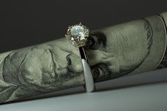 De ring van de één karaatdiamant Royalty-vrije Stock Foto