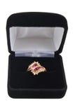 De ring van de robijn en van de diamant Stock Afbeelding