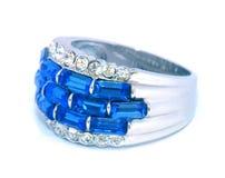 De Ring van de Saffier van de diamant Royalty-vrije Stock Foto