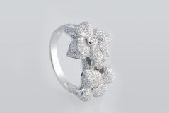 De ring van het platina met diamanten Stock Afbeelding