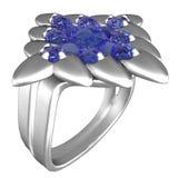 De Ring van het platina met Saffieren stock afbeeldingen
