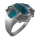 De Ring van het platina met Saffieren Stock Fotografie