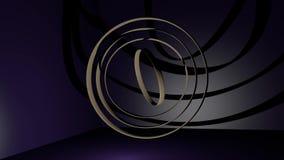 De ringen die van het bronsmetaal zich in donkere ruimte met purper licht bewegen Abstracte mystieke video Voor gebruik als intro royalty-vrije illustratie