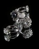 De ringen van Collectionsof met diamant Royalty-vrije Stock Foto
