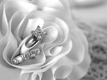 De Ringen van de diamanten bruiloft Stock Fotografie
