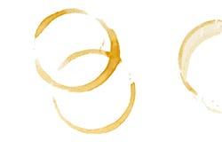 De ringen van de koffievlek Royalty-vrije Stock Foto's