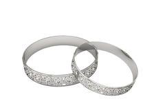 De ringen van de zilveren bruiloft met magische tracery Stock Afbeeldingen