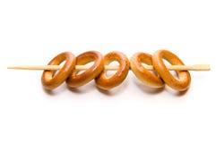 De ringen van het brood op eetstokje Stock Afbeeldingen