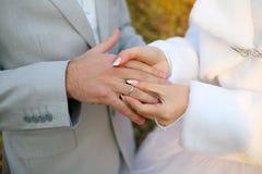 De ringen van huwelijken Stock Foto