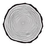 De ringenontwerp van de boomboomstam op witte achtergrond wordt geïsoleerd die royalty-vrije illustratie
