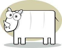 De Rinoceros van het beeldverhaal in Zwart-wit Stock Foto