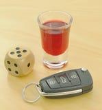 De risico's van dronkenschap bij het rijden stock foto