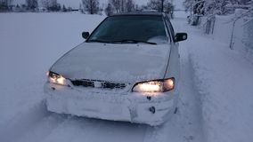 De rit van de de winterauto Stock Foto's