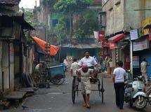 De rit van de riksja - Kolkata (Calcutta, India, Azië) Royalty-vrije Stock Foto's