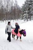De rit van het kind een poney in de winterpark Stock Fotografie