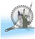 De ritssluiting opent de showaantrekkelijkheden rond de wereld het concept het reizen Vector illustratie Stock Fotografie