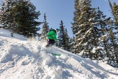 De ritten van de vrouwenskiër door poedersneeuw aan de bergen Wintersportenfreeride Royalty-vrije Stock Fotografie